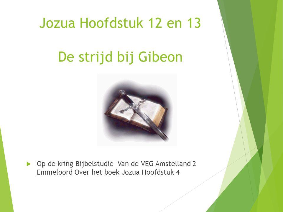 Jozua Hoofdstuk 12 en 13 De strijd bij Gibeon  Op de kring Bijbelstudie Van de VEG Amstelland 2 Emmeloord Over het boek Jozua Hoofdstuk 4