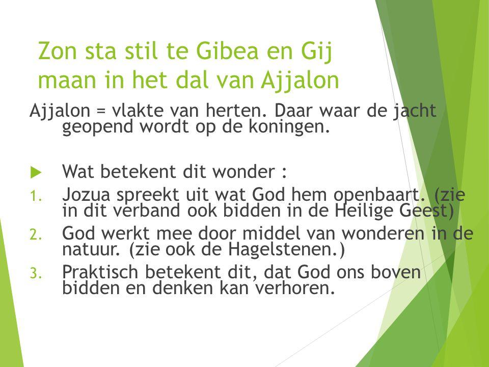 Zon sta stil te Gibea en Gij maan in het dal van Ajjalon Ajjalon = vlakte van herten.
