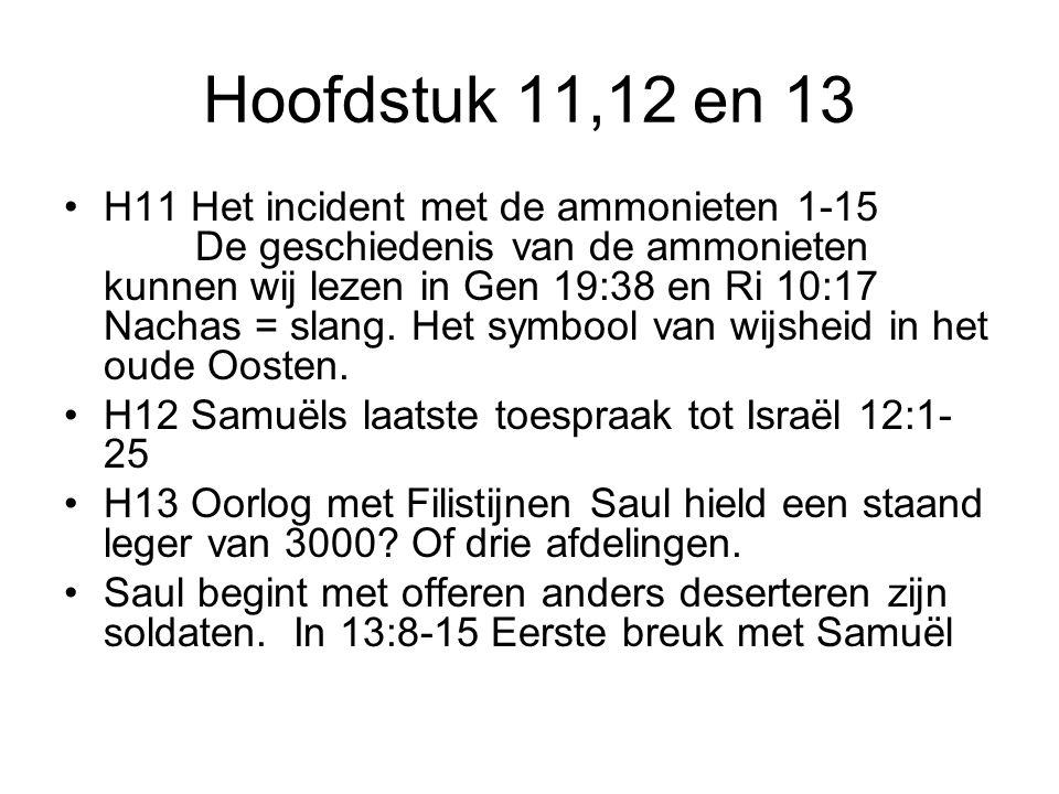 Hoofdstuk 11,12 en 13 H11 Het incident met de ammonieten 1-15 De geschiedenis van de ammonieten kunnen wij lezen in Gen 19:38 en Ri 10:17 Nachas = sla