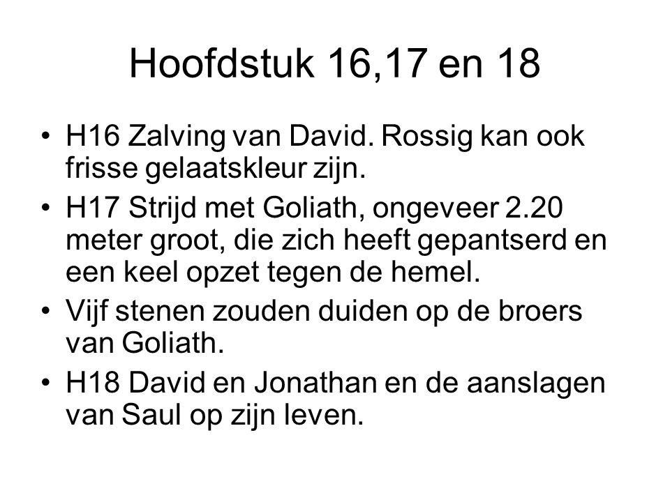 Hoofdstuk 16,17 en 18 H16 Zalving van David. Rossig kan ook frisse gelaatskleur zijn. H17 Strijd met Goliath, ongeveer 2.20 meter groot, die zich heef