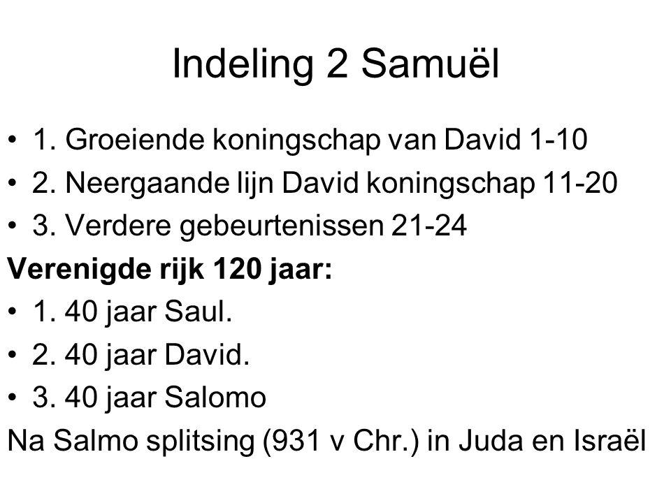 Indeling 2 Samuël 1. Groeiende koningschap van David 1-10 2. Neergaande lijn David koningschap 11-20 3. Verdere gebeurtenissen 21-24 Verenigde rijk 12