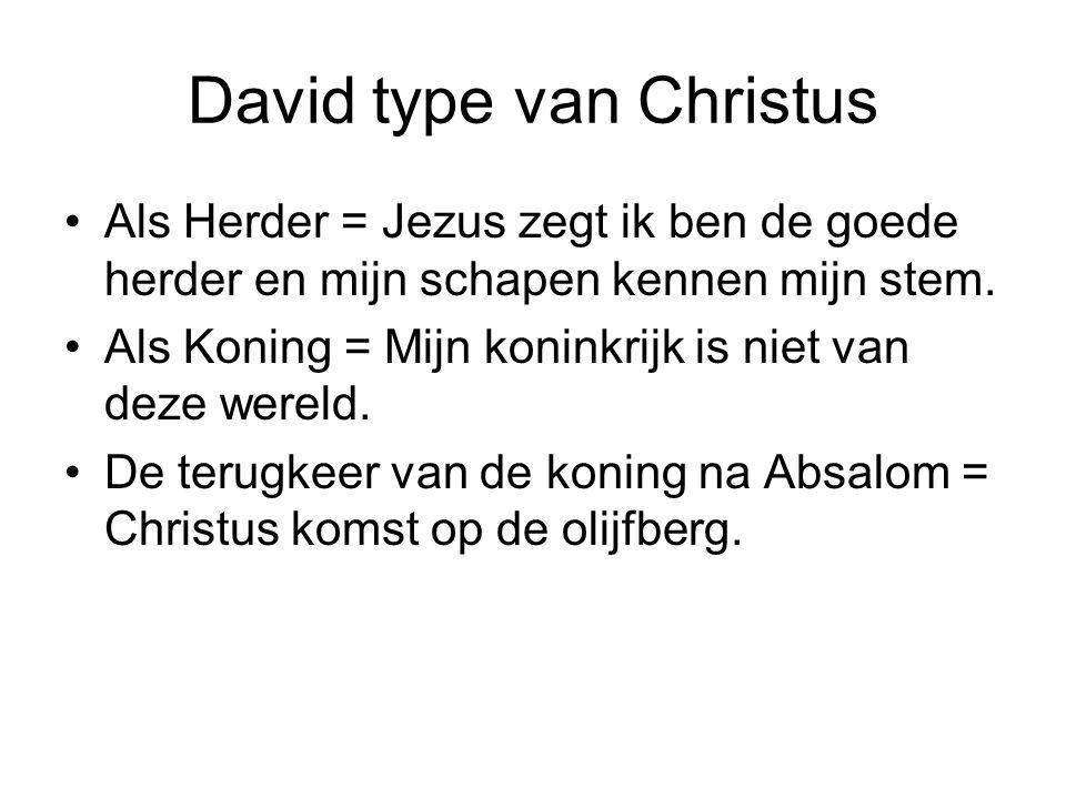 David type van Christus Als Herder = Jezus zegt ik ben de goede herder en mijn schapen kennen mijn stem. Als Koning = Mijn koninkrijk is niet van deze