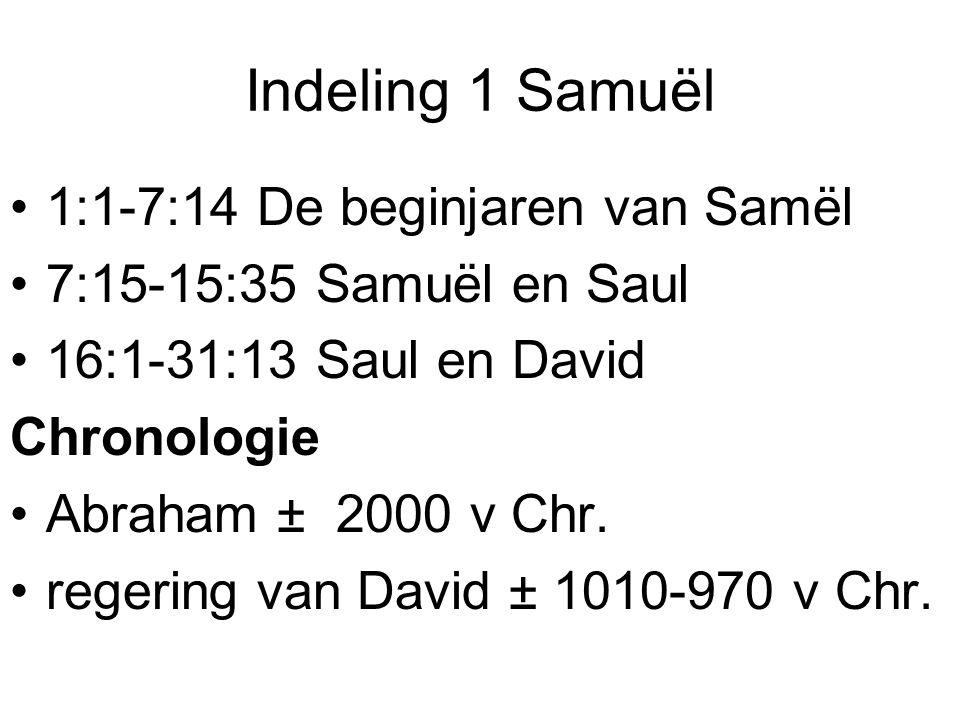 Indeling 1 Samuël 1:1-7:14 De beginjaren van Samël 7:15-15:35 Samuël en Saul 16:1-31:13 Saul en David Chronologie Abraham ± 2000 v Chr. regering van D