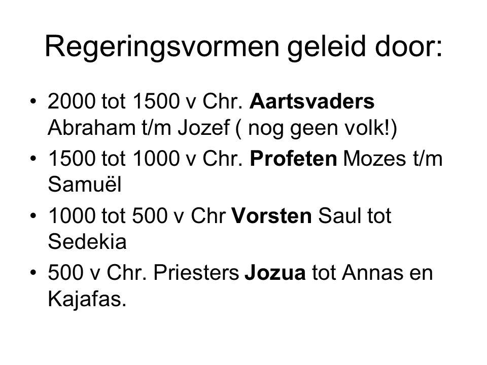 Regeringsvormen geleid door: 2000 tot 1500 v Chr. Aartsvaders Abraham t/m Jozef ( nog geen volk!) 1500 tot 1000 v Chr. Profeten Mozes t/m Samuël 1000