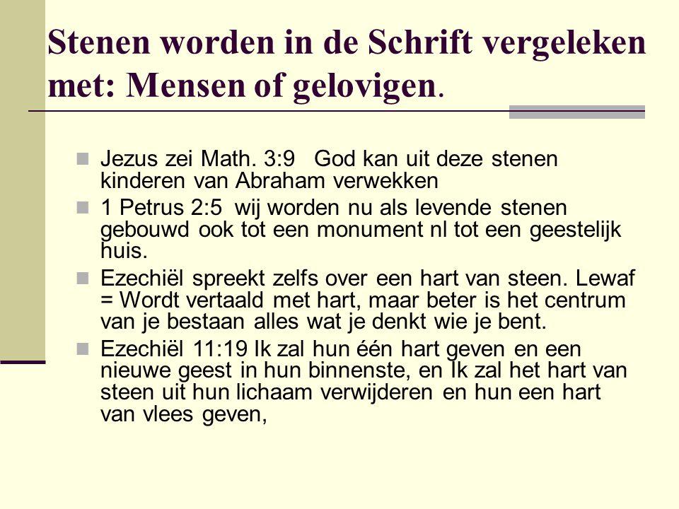 Stenen worden in de Schrift vergeleken met: Mensen of gelovigen. Jezus zei Math. 3:9 God kan uit deze stenen kinderen van Abraham verwekken 1 Petrus 2