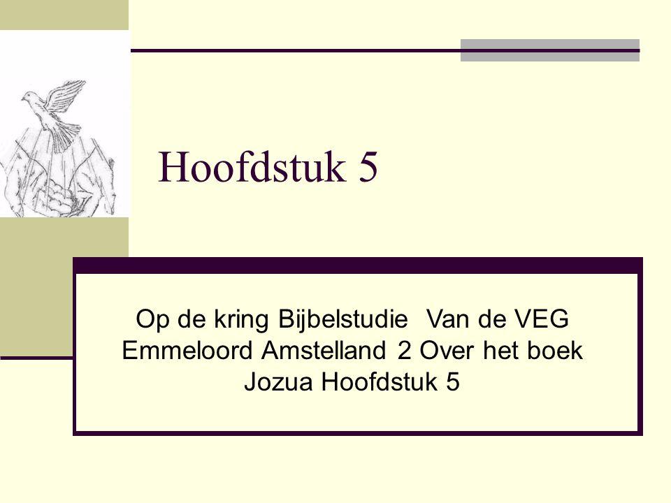 Hoofdstuk 5 Op de kring Bijbelstudie Van de VEG Emmeloord Amstelland 2 Over het boek Jozua Hoofdstuk 5