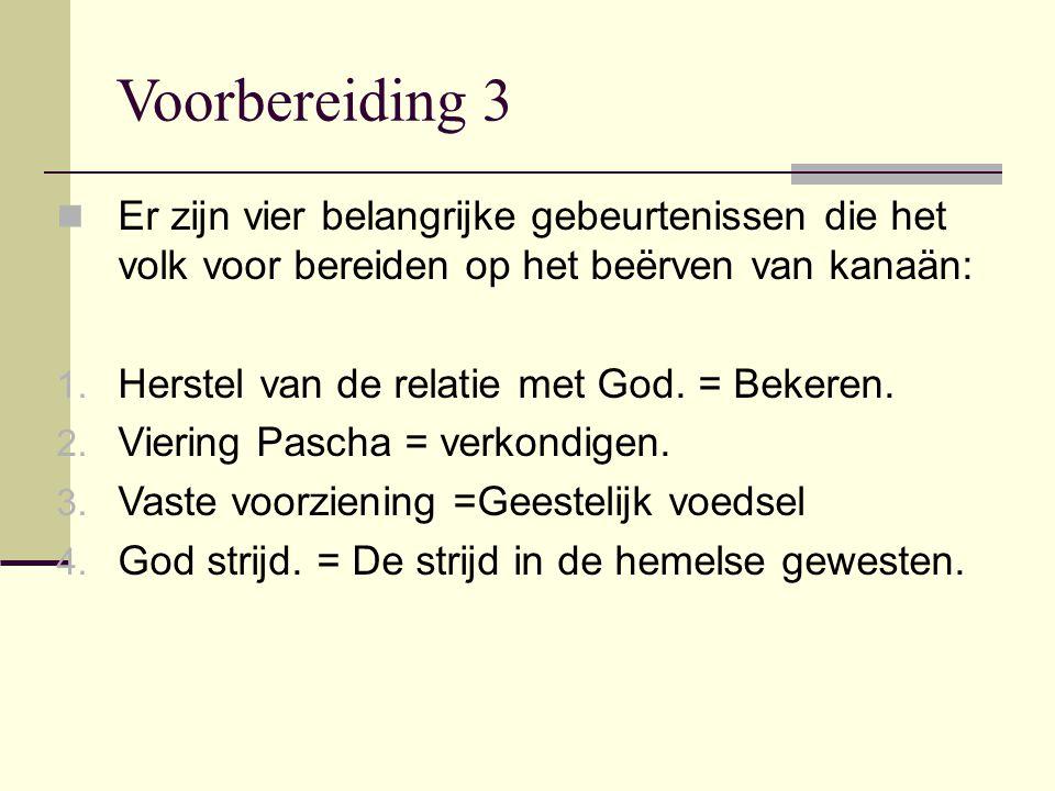 Voorbereiding 3 Er zijn vier belangrijke gebeurtenissen die het volk voor bereiden op het beërven van kanaän: 1. Herstel van de relatie met God. = Bek