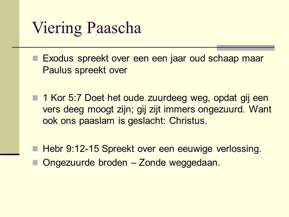 Viering Paascha Exodus spreekt over een een jaar oud schaap maar Paulus spreekt over 1 Kor 5:7 Doet het oude zuurdeeg weg, opdat gij een vers deeg moogt zijn; gij zijt immers ongezuurd.