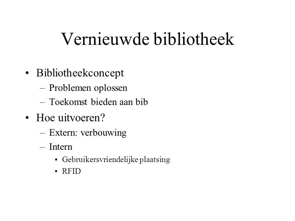 Vernieuwde bibliotheek Bibliotheekconcept –Problemen oplossen –Toekomst bieden aan bib Hoe uitvoeren? –Extern: verbouwing –Intern Gebruikersvriendelij