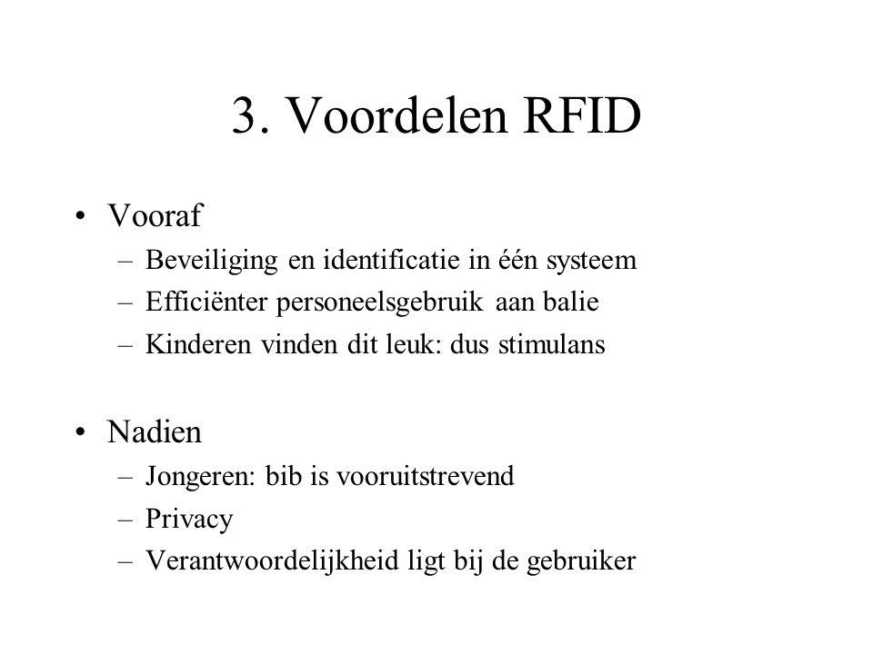 3. Voordelen RFID Vooraf –Beveiliging en identificatie in één systeem –Efficiënter personeelsgebruik aan balie –Kinderen vinden dit leuk: dus stimulan