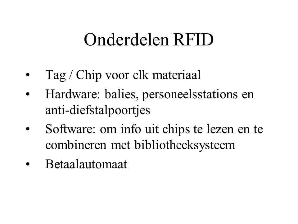 Onderdelen RFID Tag / Chip voor elk materiaal Hardware: balies, personeelsstations en anti-diefstalpoortjes Software: om info uit chips te lezen en te