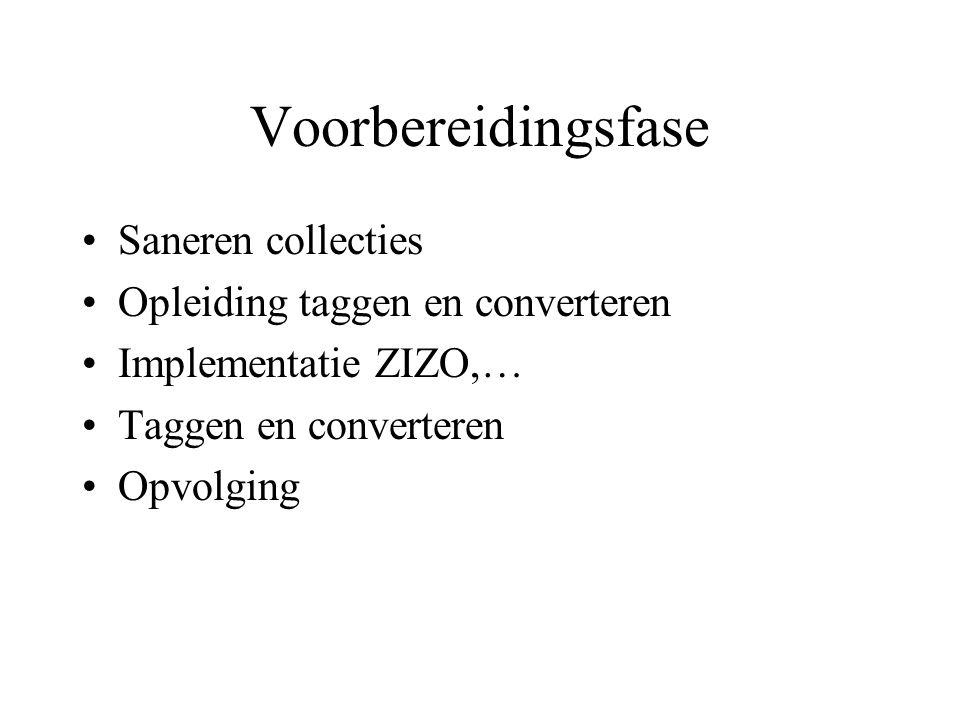 Voorbereidingsfase Saneren collecties Opleiding taggen en converteren Implementatie ZIZO,… Taggen en converteren Opvolging