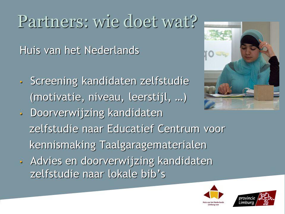 Partners: wie doet wat.