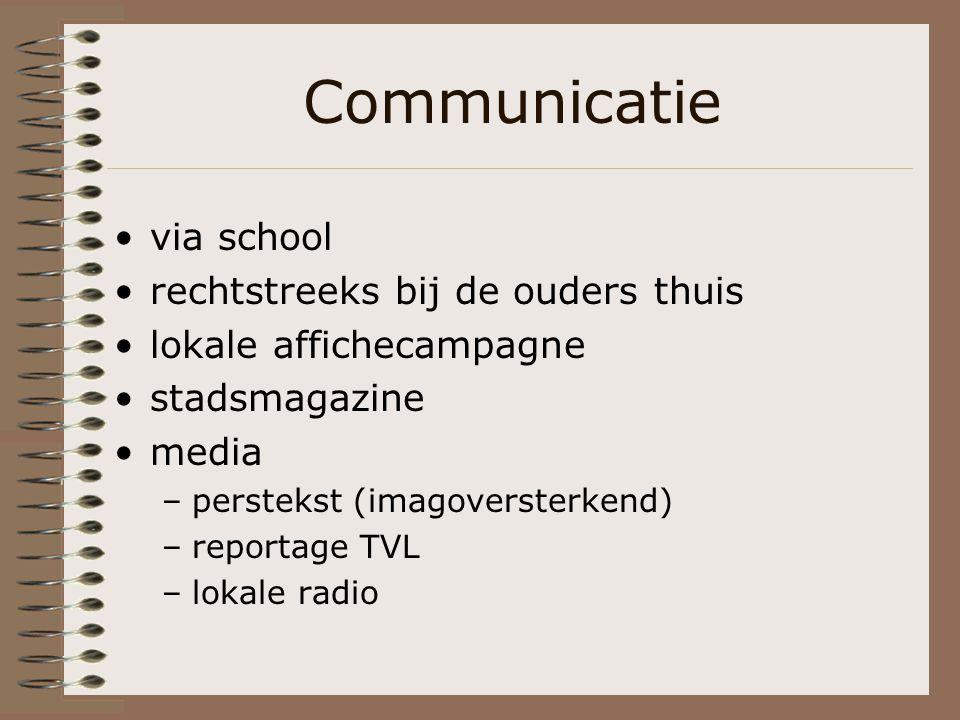 Communicatie via school rechtstreeks bij de ouders thuis lokale affichecampagne stadsmagazine media –perstekst (imagoversterkend) –reportage TVL –lokale radio