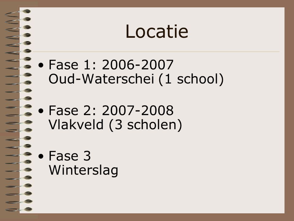 Locatie Fase 1: 2006-2007 Oud-Waterschei (1 school) Fase 2: 2007-2008 Vlakveld (3 scholen) Fase 3 Winterslag