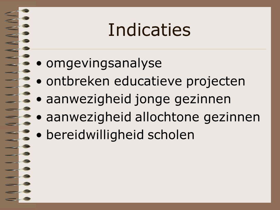 Indicaties omgevingsanalyse ontbreken educatieve projecten aanwezigheid jonge gezinnen aanwezigheid allochtone gezinnen bereidwilligheid scholen