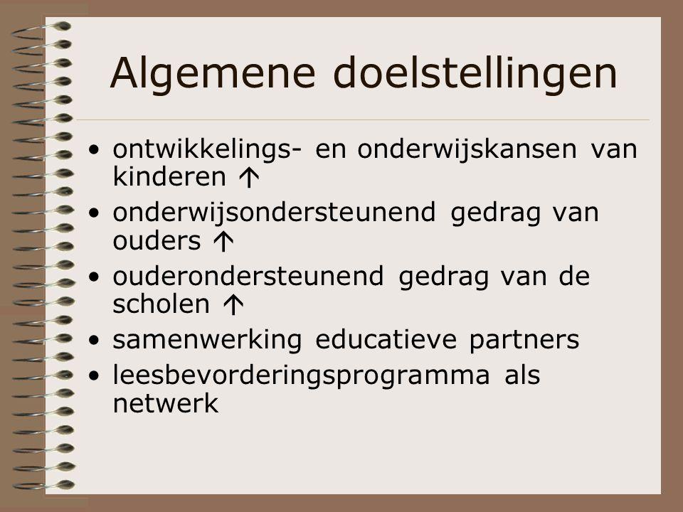 Algemene doelstellingen ontwikkelings- en onderwijskansen van kinderen  onderwijsondersteunend gedrag van ouders  ouderondersteunend gedrag van de s
