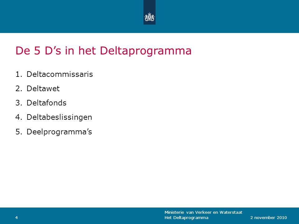 Ministerie van Verkeer en Waterstaat Het Deltaprogramma42 november 2010 De 5 D's in het Deltaprogramma 1.Deltacommissaris 2.Deltawet 3.Deltafonds 4.Deltabeslissingen 5.Deelprogramma's