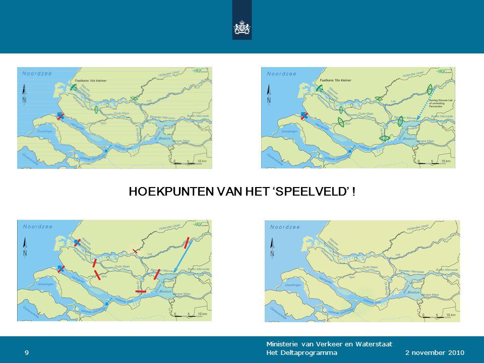 Ministerie van Verkeer en Waterstaat Het Deltaprogramma92 november 2010 HOEKPUNTEN VAN HET 'SPEELVELD' !