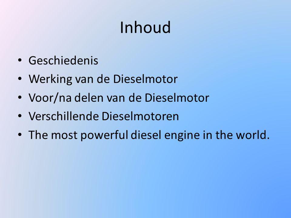 Inhoud Geschiedenis Werking van de Dieselmotor Voor/na delen van de Dieselmotor Verschillende Dieselmotoren The most powerful diesel engine in the wor
