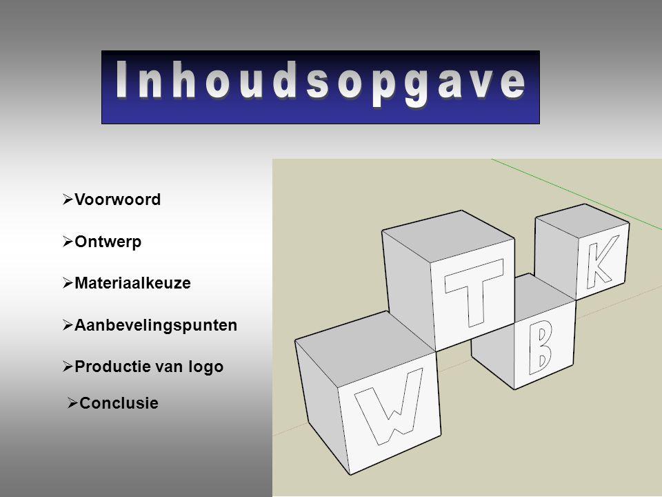 VVoorwoord OOntwerp MMateriaalkeuze AAanbevelingspunten PProductie van logo CConclusie