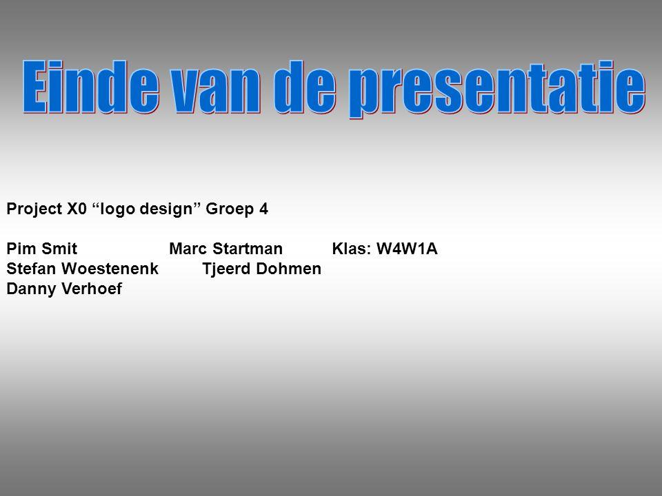 Project X0 logo design Groep 4 Pim SmitMarc StartmanKlas: W4W1A Stefan WoestenenkTjeerd Dohmen Danny Verhoef