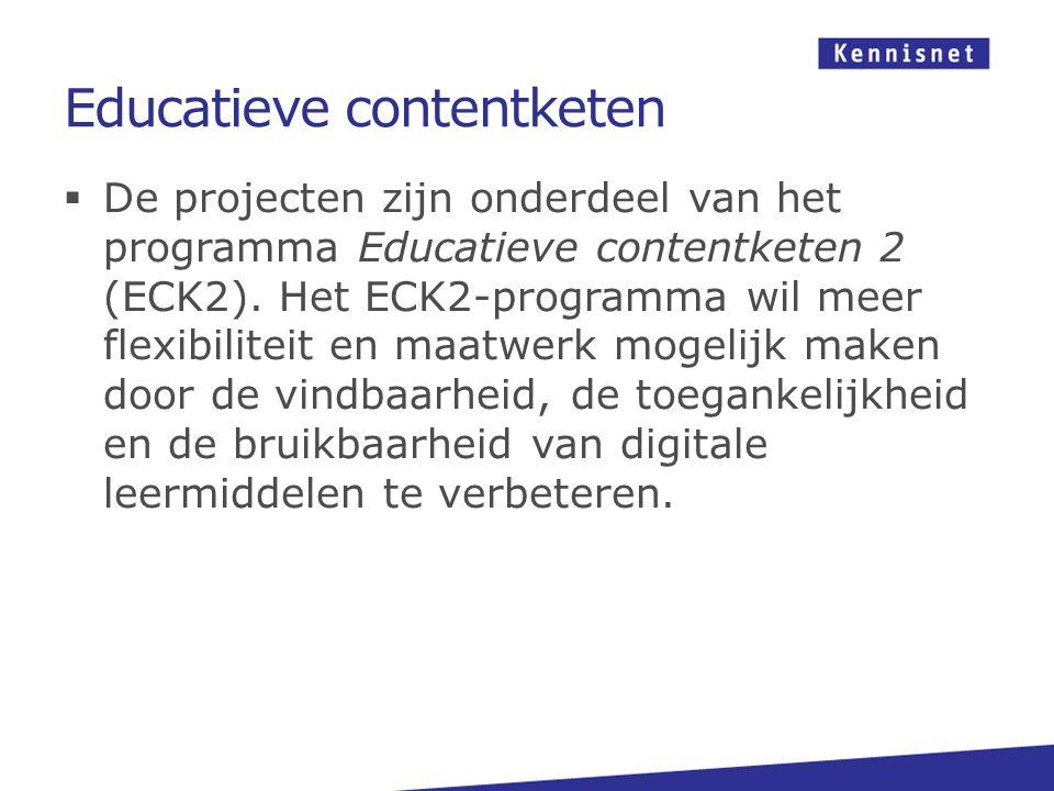 Educatieve contentketen  De projecten zijn onderdeel van het programma Educatieve contentketen 2 (ECK2).