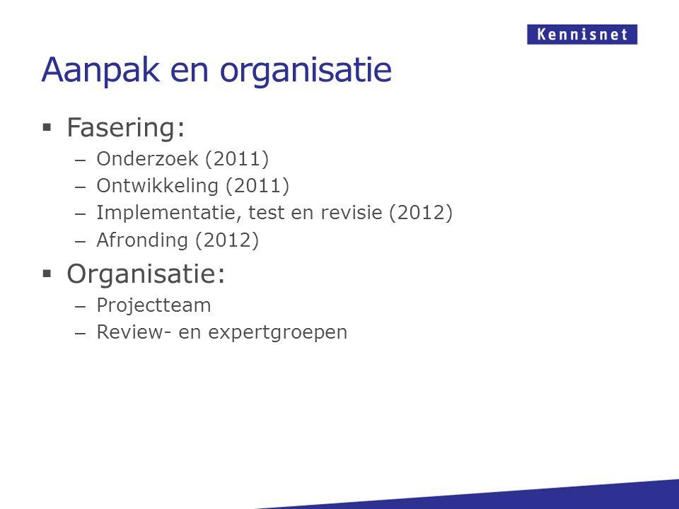 Aanpak en organisatie  Fasering: – Onderzoek (2011) – Ontwikkeling (2011) – Implementatie, test en revisie (2012) – Afronding (2012)  Organisatie: – Projectteam – Review- en expertgroepen
