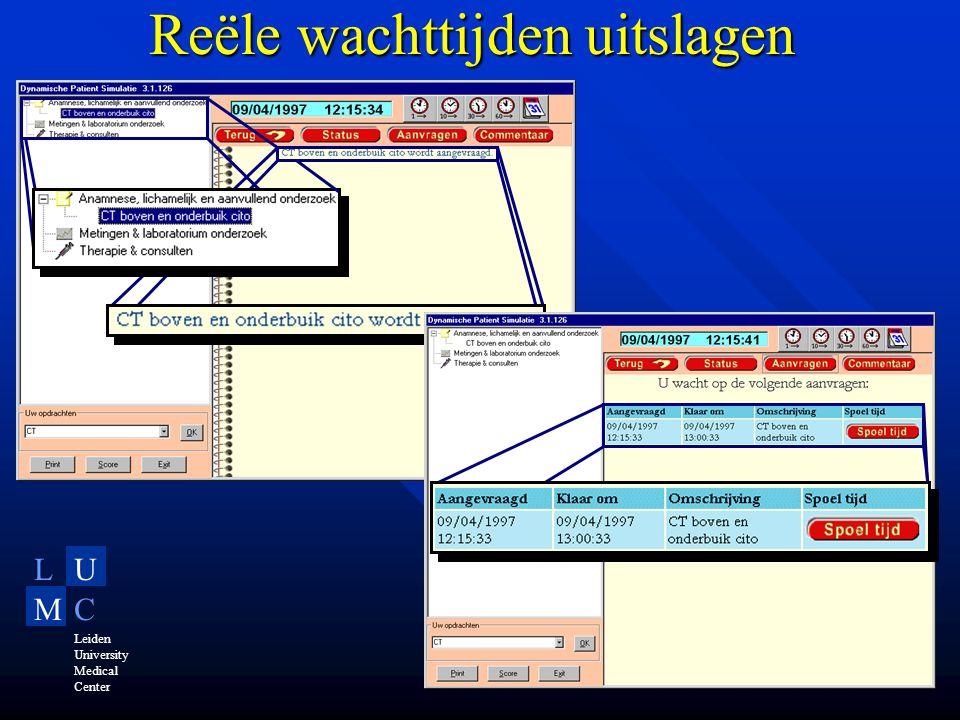 LU MC Leiden University Medical Center Reële wachttijden uitslagen