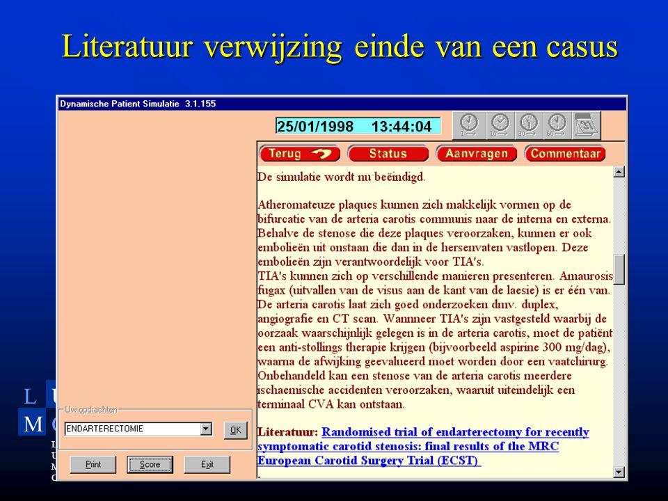 LU MC Leiden University Medical Center Literatuur verwijzing einde van een casus