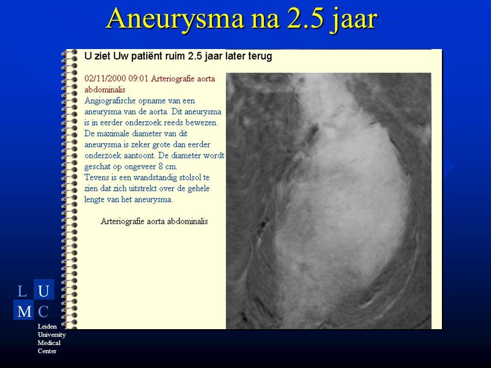 LU MC Leiden University Medical Center Aneurysma na 2.5 jaar