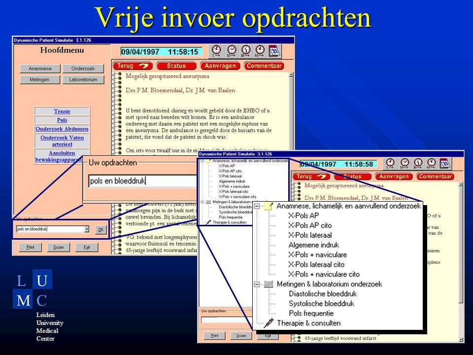 LU MC Leiden University Medical Center Vrije invoer opdrachten