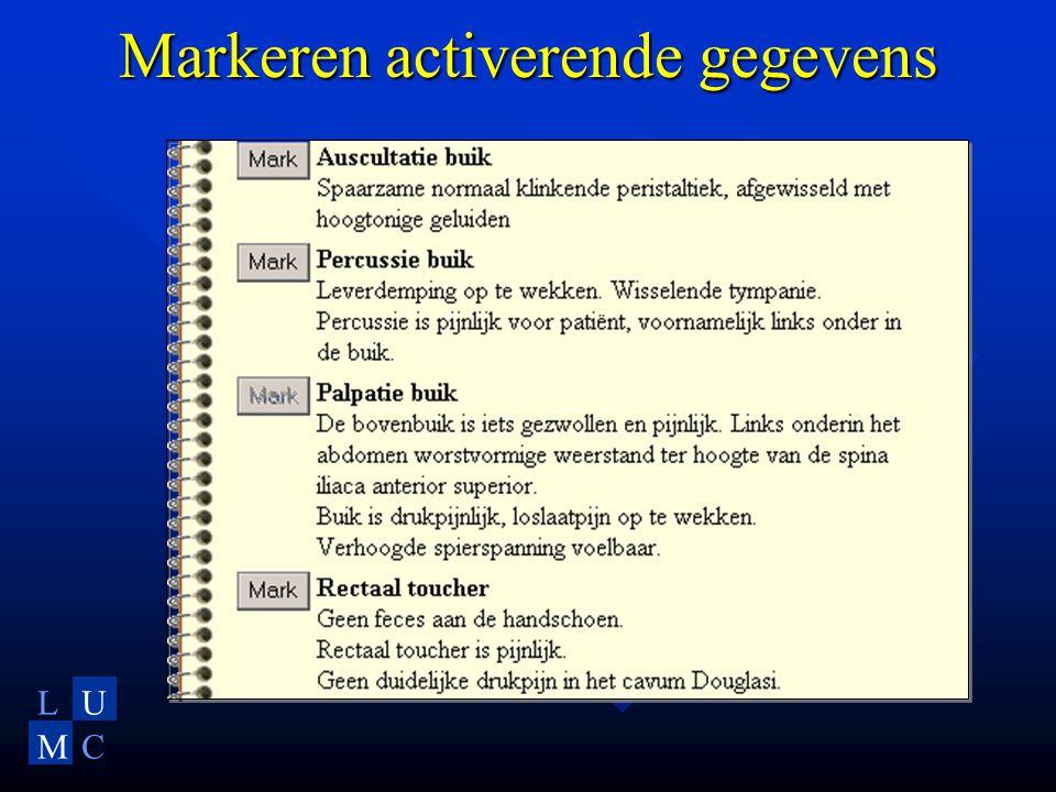 LU MC Markeren activerende gegevens