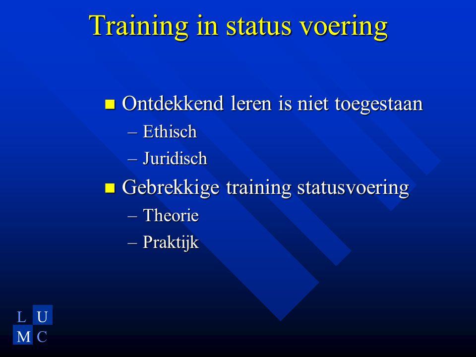 LU MC Training in status voering Ontdekkend leren is niet toegestaan Ontdekkend leren is niet toegestaan –Ethisch –Juridisch Gebrekkige training statusvoering Gebrekkige training statusvoering –Theorie –Praktijk