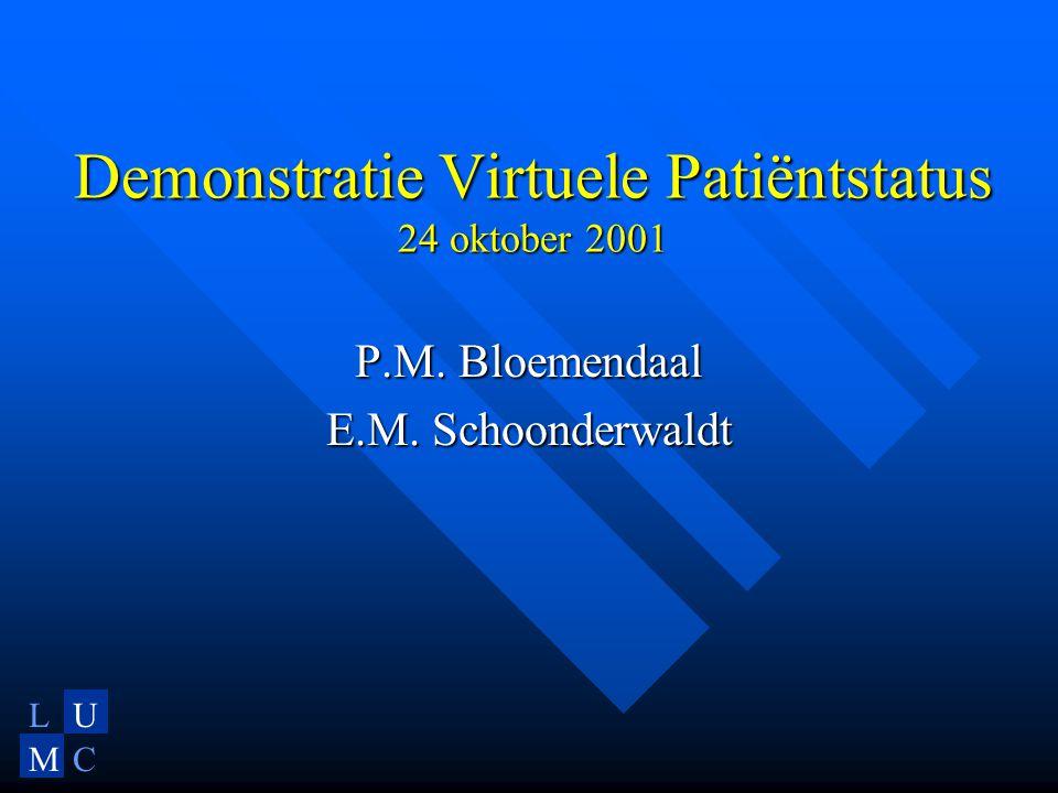LU MC Demonstratie Virtuele Patiëntstatus 24 oktober 2001 P.M. Bloemendaal E.M. Schoonderwaldt