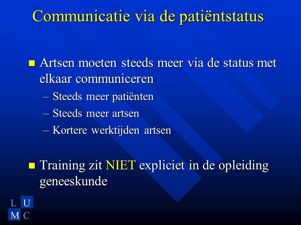 LU MC Communicatie via de patiëntstatus Artsen moeten steeds meer via de status met elkaar communiceren Artsen moeten steeds meer via de status met el