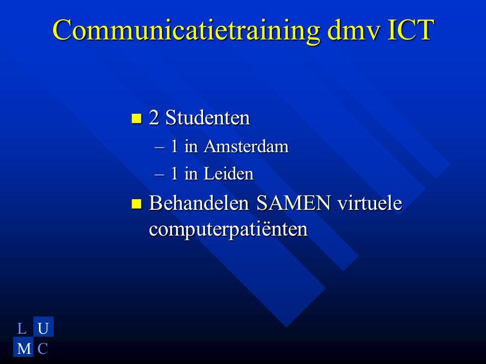 LU MC Communicatietraining dmv ICT 2 Studenten 2 Studenten –1 in Amsterdam –1 in Leiden Behandelen SAMEN virtuele computerpatiënten Behandelen SAMEN virtuele computerpatiënten