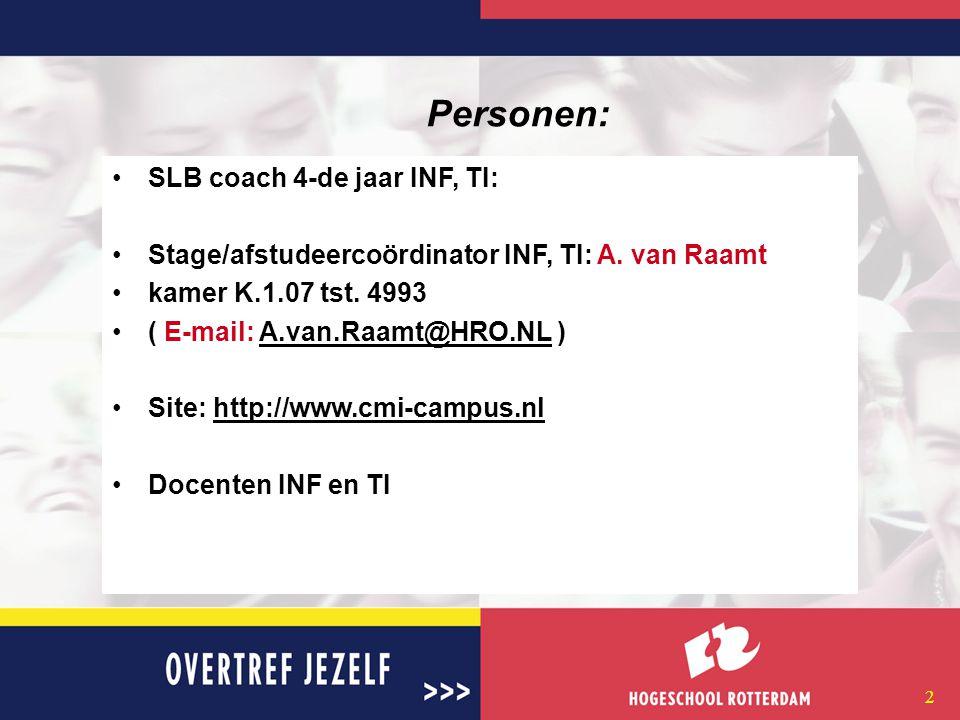 2 Personen: SLB coach 4-de jaar INF, TI: Stage/afstudeercoördinator INF, TI: A.