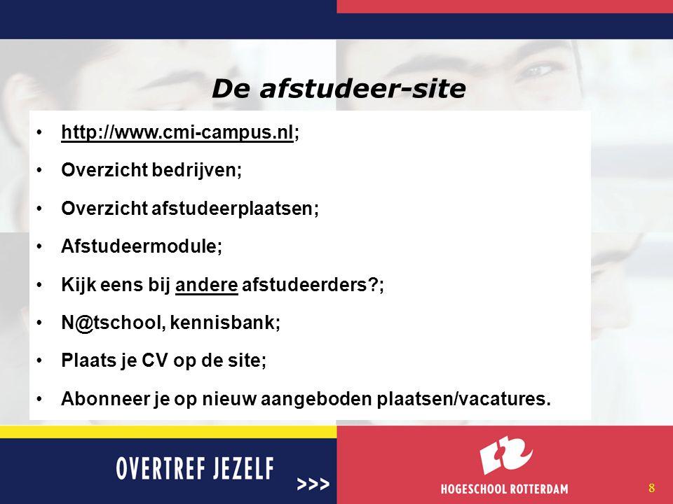 8 De afstudeer-site http://www.cmi-campus.nl;http://www.cmi-campus.nl Overzicht bedrijven; Overzicht afstudeerplaatsen; Afstudeermodule; Kijk eens bij andere afstudeerders?;andere N@tschool, kennisbank; Plaats je CV op de site; Abonneer je op nieuw aangeboden plaatsen/vacatures.