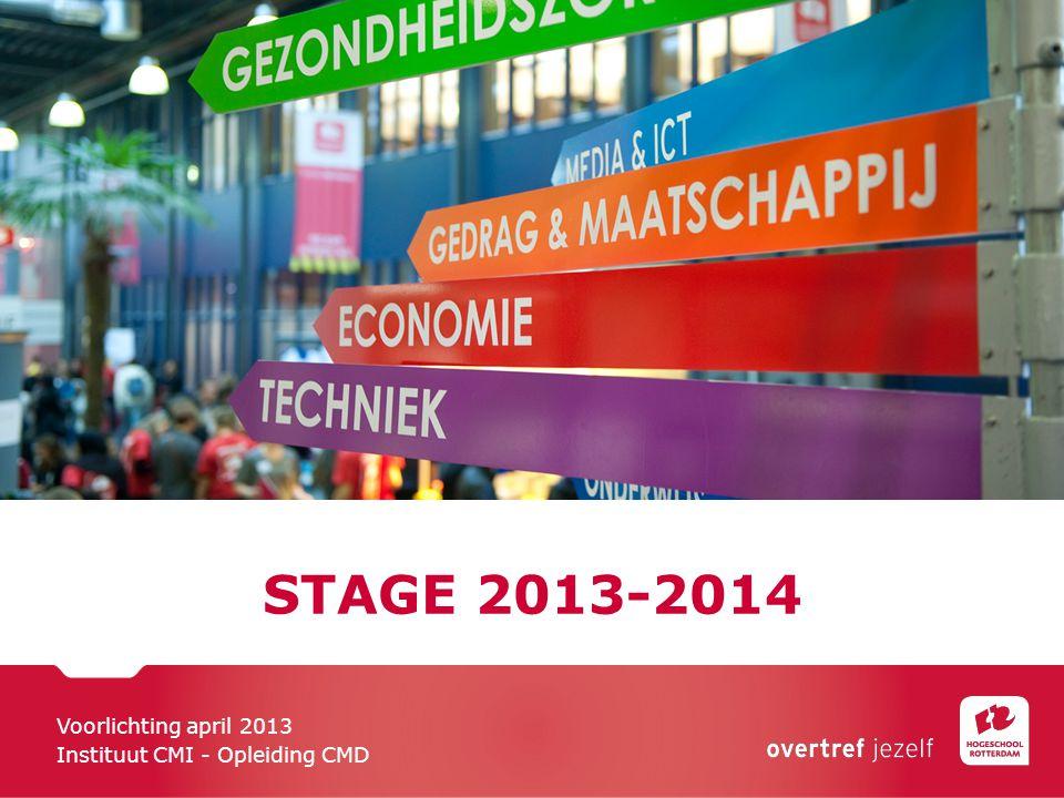 STAGE 2013-2014 Voorlichting april 2013 Instituut CMI - Opleiding CMD