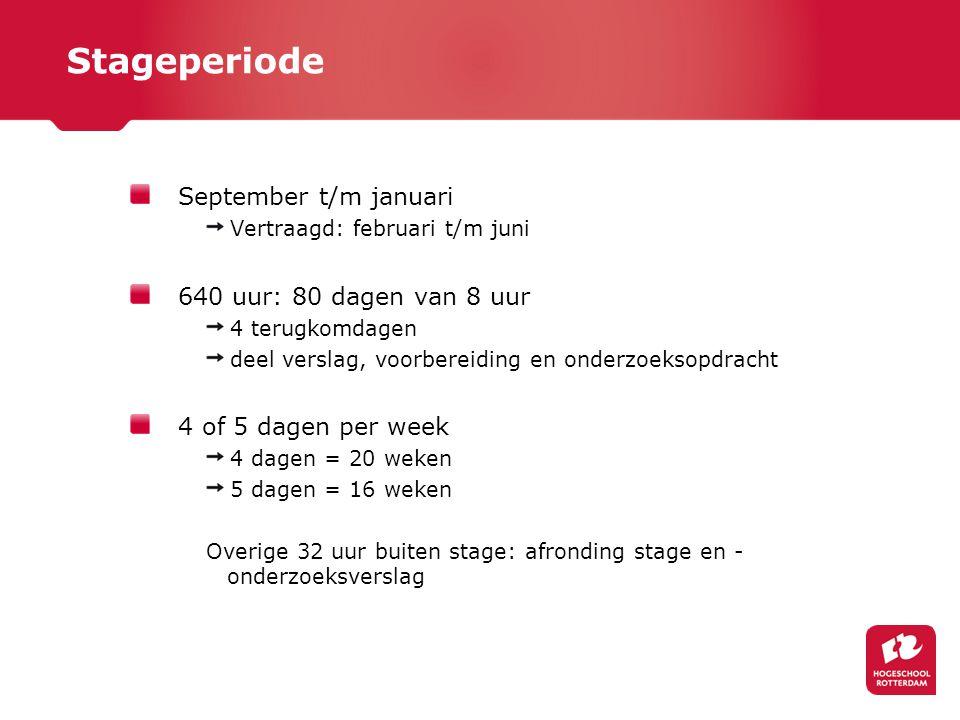 Stageperiode September t/m januari Vertraagd: februari t/m juni 640 uur: 80 dagen van 8 uur 4 terugkomdagen deel verslag, voorbereiding en onderzoekso