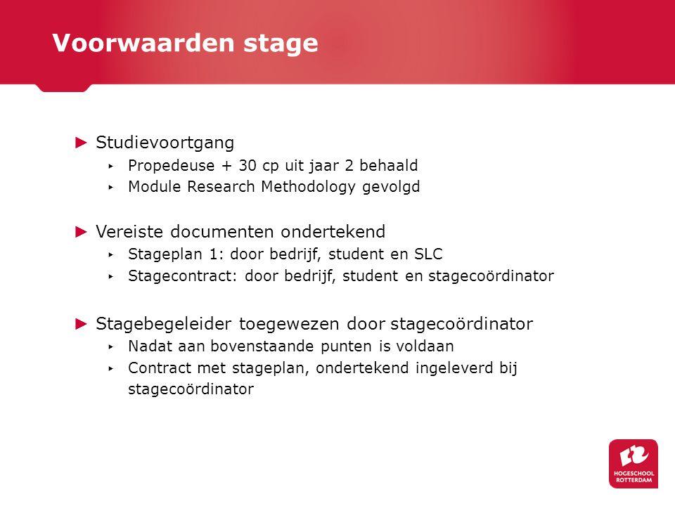 ► Studievoortgang ▸ Propedeuse + 30 cp uit jaar 2 behaald ▸ Module Research Methodology gevolgd ► Vereiste documenten ondertekend ▸ Stageplan 1: door