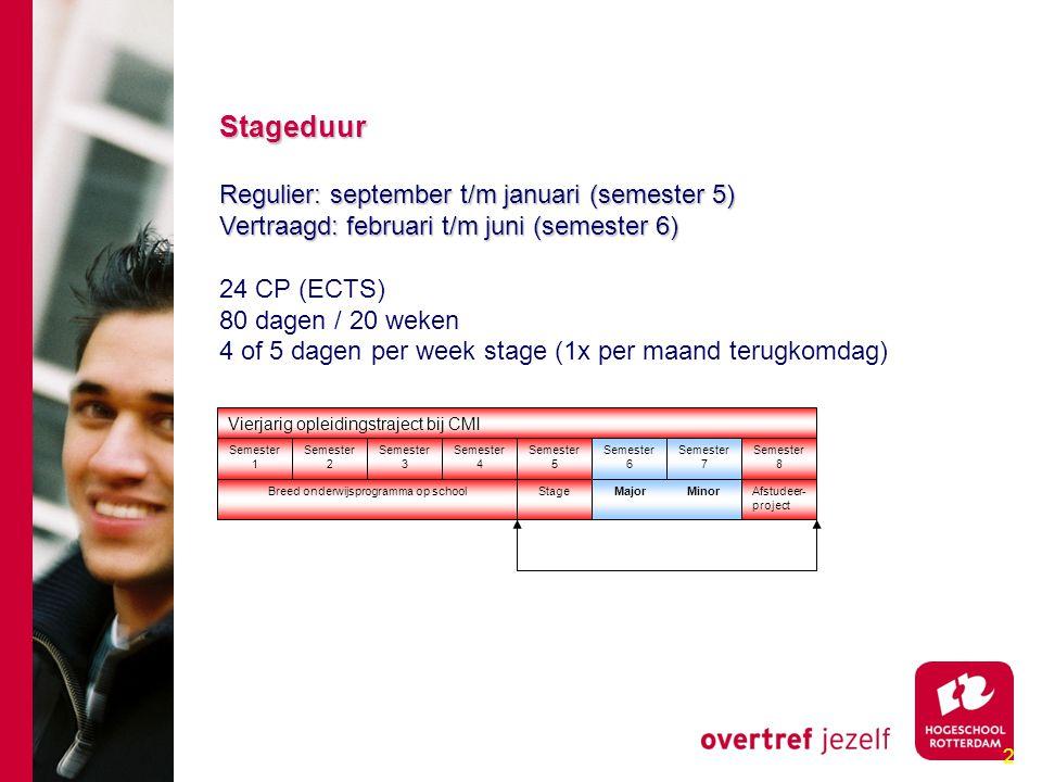 2 Stageduur Stageduur Regulier: september t/m januari (semester 5) Regulier: september t/m januari (semester 5) Vertraagd: februari t/m juni (semester 6) Vertraagd: februari t/m juni (semester 6) 24 CP (ECTS) 80 dagen / 20 weken 4 of 5 dagen per week stage (1x per maand terugkomdag) Vierjarig opleidingstraject bij CMI Semester 4 Semester 6 Semester 7 Semester 8 Semester 5 Semester 1 Semester 2 Semester 3 Afstudeer- project Stage Major MinorBreed onderwijsprogramma op school