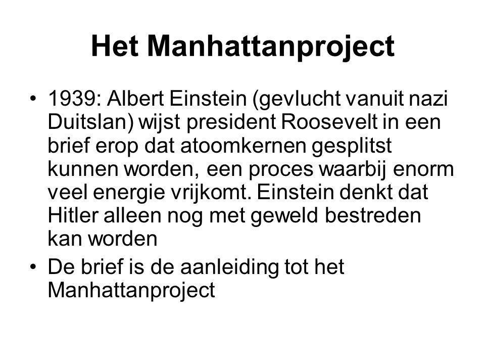 Het Manhattanproject 1939: Albert Einstein (gevlucht vanuit nazi Duitslan) wijst president Roosevelt in een brief erop dat atoomkernen gesplitst kunne
