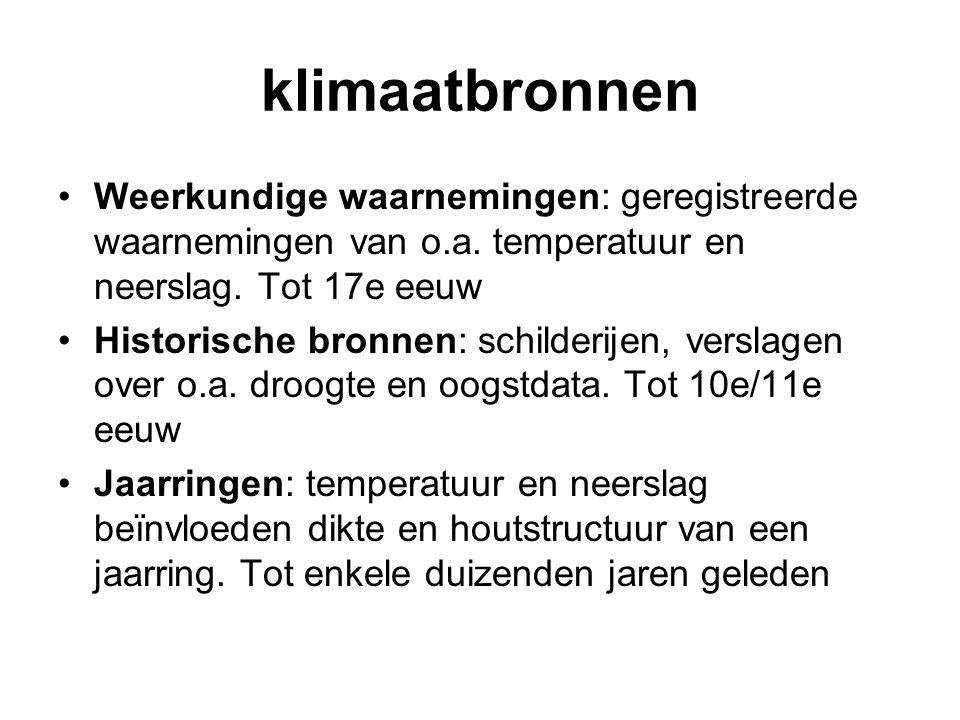 klimaatbronnen Weerkundige waarnemingen: geregistreerde waarnemingen van o.a. temperatuur en neerslag. Tot 17e eeuw Historische bronnen: schilderijen,
