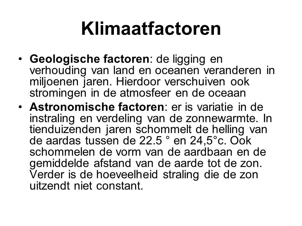 Klimaatfactoren Geologische factoren: de ligging en verhouding van land en oceanen veranderen in miljoenen jaren. Hierdoor verschuiven ook stromingen