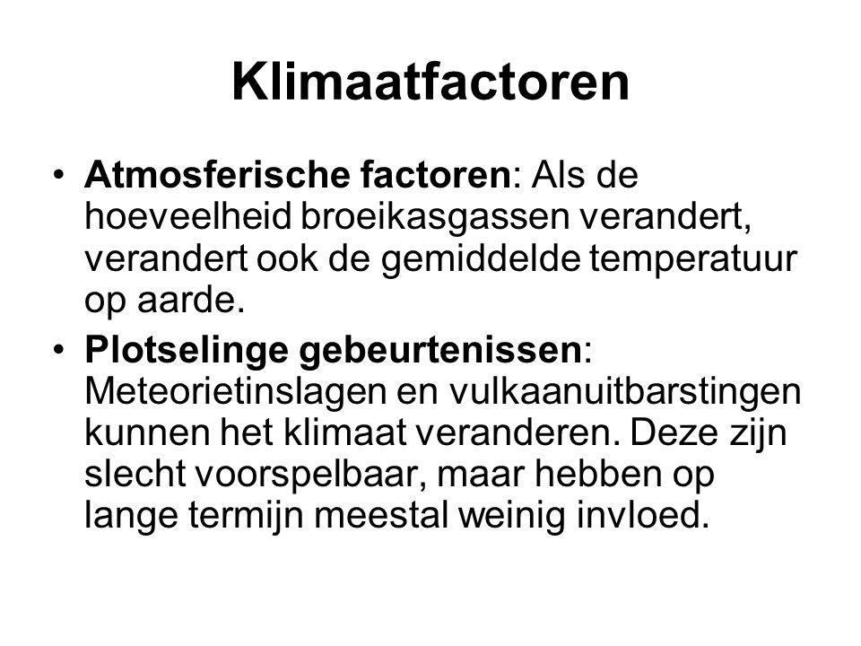 Klimaatfactoren Atmosferische factoren: Als de hoeveelheid broeikasgassen verandert, verandert ook de gemiddelde temperatuur op aarde. Plotselinge geb