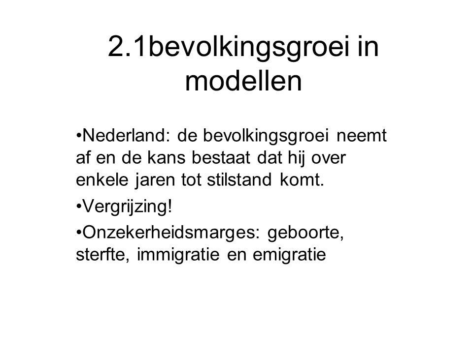 2.1bevolkingsgroei in modellen Nederland: de bevolkingsgroei neemt af en de kans bestaat dat hij over enkele jaren tot stilstand komt. Vergrijzing! On