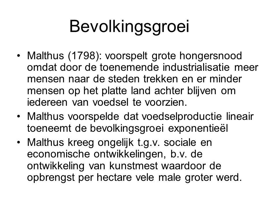 Bevolkingsgroei Malthus (1798): voorspelt grote hongersnood omdat door de toenemende industrialisatie meer mensen naar de steden trekken en er minder