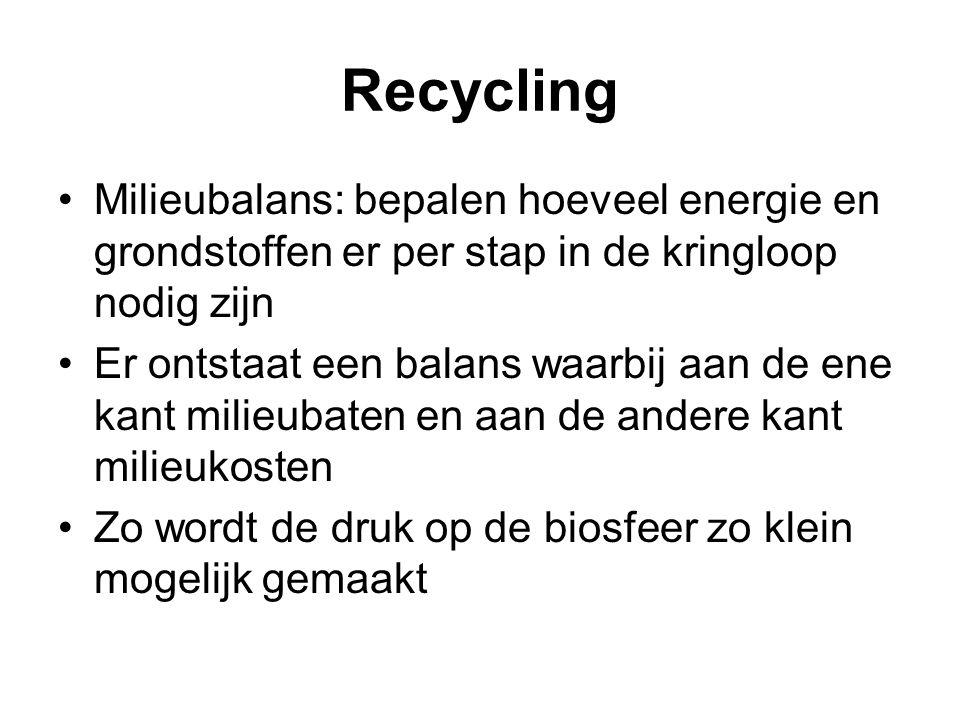 Recycling Milieubalans: bepalen hoeveel energie en grondstoffen er per stap in de kringloop nodig zijn Er ontstaat een balans waarbij aan de ene kant